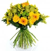 bouquet fleurs livraison envoyer livrer fleuriste jaune vert