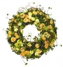 livraison couronne fleurs fleuriste jaune vert livrer église funérarium enterrement