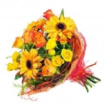 fleuriste livraison fleurs bouquet orange jaune coloré livrer